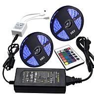 Hkv® 10m (2 * 5m) rezistent la apă 5050 rgb 300g rgb bandă lumină 24key ir telecomandă 5a sursa de alimentare ac 100-240v