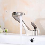 Moderne Centersat Udbredt with  Keramik Ventil Enkelt håndtag Et Hul for  Nikkel Børstet , Håndvasken vandhane