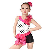 MiDee Kids' Dancewear Leotards Women's Children's Performance Organza Lycra Ruffles Sleeveless Natural