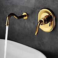 Antiikki Klassinen Seinäasennus Keraaminen venttiili Yksi kahva kaksi reikää Ti-PVD , Kylpyhuone Sink hana