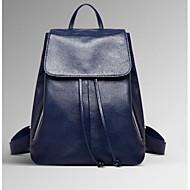 baratos Mochilas-Mulheres Bolsas Pele mochila para Casual Azul / Preto / Vinho