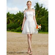 Linha A Curto / Mini Tule Vestido de casamento com Apliques Caixilhos / Fitas de LAN TING BRIDE®