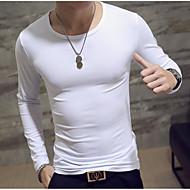 Ανδρικά T-shirt Ενεργό / Βασικό - Λινό Μονόχρωμο Στρογγυλή Λαιμόκοψη Λευκό L / Μακρυμάνικο / Άνοιξη / Φθινόπωρο