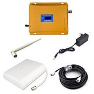 2g gsm 900mhz 4g dcs 1800mhz dual band signal booster mobiltelefon signal repeater med panel antenne / pisk antenne / 15m kabel / golden