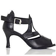 "Women's Latin Cowhide Sandal Sneaker Outdoor Chunky Heel Black 2"" - 2 3/4"""