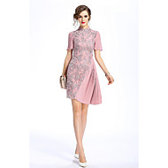 Dámské Vintage Čínské vzory Jdeme ven Běžné/Denní Pouzdro Šaty Výšivka,Krátký rukáv Stojáček Asymetrické Polyester Léto Mid Rise