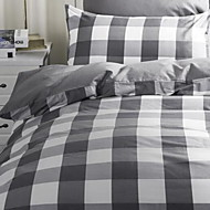 Plaid/Checkered 4 Piece Cotton Cotton 1pc Duvet Cover 2pcs Shams 1pc Flat Sheet