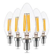 4W LED 캔들 조명 C35 4 COB 300-400 lm 따뜻한 화이트 밝기조절가능 장식 AC 110-130 (110) V 5개