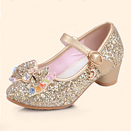 cheap Girls' Shoes-Girls' Shoes Leatherette Summer Fall Flower Girl Shoes Comfort Flats Sequin Buckle for Casual Dress Gold Silver Blue Pink