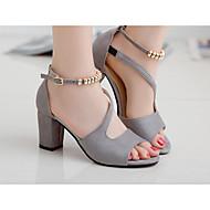 baratos Sapatos Femininos-Mulheres Sapatos Courino Verão Plataforma Básica Saltos Dedo Aberto Miçangas Cinzento / Verde / Rosa claro