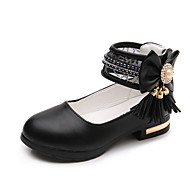 Girls' Flats Comfort Flower Girl Shoes Summer Fall Leather PU Dress Imitation Pearl Flat Heel White Black Blushing Pink Flat