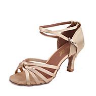 baratos Sapatilhas de Dança-Mulheres Sapatos de Dança Latina Seda Sandália Salto Carretel Não Personalizável Sapatos de Dança Preto / Bege / Marron / Interior