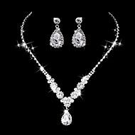 Dame Dråbeøreringe Kort halskæde Brude Smykke sæt Rhinsten Kvadratisk Zirconium Luksus Vintage Elegant Bryllup Fest & Aften Forlovelse