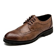 Men's Shoes Leather Spring Summer Fall Winter Comfort Formal Shoes Oxfords Lace-up For Casual Party & Evening Office & Career Black Gray