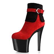 baratos Sapatos Femininos-Mulheres Sapatos Flanelado Inverno Botas da Moda Botas Salto Agulha Ponta Redonda Botas Curtas / Ankle Presilha Ziper para Festas & Noite