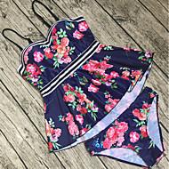Women's Floral Plus Size Strap Red Cheeky Tankini Swimwear - Floral Print XL XXL XXXL Red