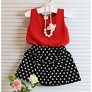 Djevojčice Pamuk Poliester Na točkice Print Ljeto Kratkih rukava Setovi Komplet odjeće