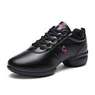 baratos Sapatilhas de Dança-Mulheres Tênis de Dança Micofibra Sintética PU Têni Recortes Salto Robusto Sapatos de Dança Branco / Preto
