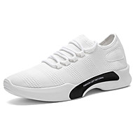 Men's Athletic Shoes Comfort Spring Fall Tulle Walking Shoes Casual Lace-up Flat Heel White Black Gray 2in-2 3/4in
