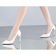 Feminino Sapatos Pele Real Couro Ecológico Outono Inverno Conforto Plataforma Básica Saltos Para Casual Branco Preto