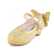cheap Girls' Shoes-Girls' Flats Comfort Novelty Flower Girl Shoes Fall Winter Leatherette Casual Dress Crystal Flat Heel Blushing Pink Silver Gold Flat