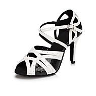 Dámské Boty na latinskoamerické tance Kůže Sandály Na zakázku Taneční boty Černá / bílá / Vevnitř