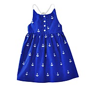Toddler Dívčí Animák Tisk Bez rukávů Bavlna Šaty Vodní modrá