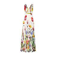 Χαμηλού Κόστους -Γυναικεία Παραλία Αργίες Swing Φόρεμα - Φλοράλ, Στάμπα Μακρύ Ψηλοκάβαλο Λαιμόκοψη V Πεταλούδα