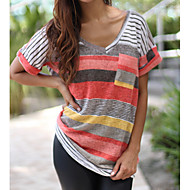 cheap -Women's Polyester Loose T-shirt - Color Block V Neck