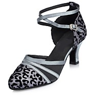 billige Moderne sko-Dame Moderne sko Glimtende Glitter Sandaler Kustomisert hæl Dansesko Bronse / Grå / Rød / Innendørs