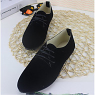 Women's Shoes Real Leather PU Spring Summer Comfort Oxfords For Casual Black Gray Red