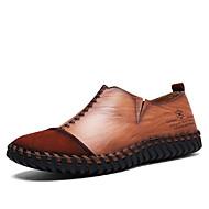tanie Obuwie męskie-Męskie Buty Jeans Wiosna Jesień Comfort Mokasyny i pantofle na Casual Biuro i kariera Black Dark Brown Khaki