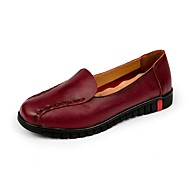 Women's Loafers & Slip-Ons Comfort Summer Fall Cowhide Leatherette Casual Split Joint Flat Heel Red Black Flat
