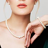 Dames Parel Sieraden Set / Armbanden met ketting en sluiting / Strengen ketting - Parel, Gesimuleerde diamant Dames, Modieus, Elegant, Bruids Wit Kettingen Sieraden Voor Bruiloft, Feest, Dagelijks