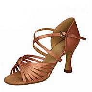 baratos Sapatilhas de Dança-Mulheres Sapatos de Dança Latina Seda / Couro Sintético Sandália Presilha Salto Cubano Personalizável Sapatos de Dança Preto / Prata /