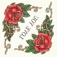 קעקוע צבע קעקוע רסק 1pc ליל כל קדושי מדבקות פרחים עמידים למי גרסה גדולה יותר