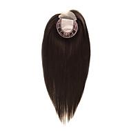 uniwigs 5.55.5レミー人間のヘアピースのレースのフロントとシルクベースのトッパーストレートヘアピース脱毛のための16インチ(ナチュラルブラック)