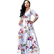 Γυναικεία Μεγάλα Μεγέθη Παραλία Μπόχο Θήκη Swing Φόρεμα - Φλοράλ Μακρύ Λαιμόκοψη V Άσπρο