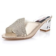 Women's Slippers & Flip-Flops Light Soles Spring Fall PU Casual Rhinestone Block Heel Silver Gold 2in-2 3/4in