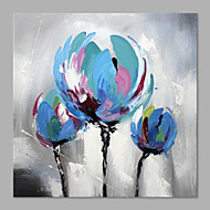 IARTS® Hand Painted Modern Abstract Blue Triple Tulip Flower on Canvas Stretched Frame Handmade Oil Painting For Home Decoration Ready To Hang