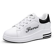 Damen Sneaker Komfort Kunstleder Frühling Herbst Normal Walking Schnürsenkel KeilabsatzRosa und Weiss Schwarz/weiss Rot/Weiß Weiß und