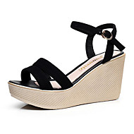 cheap Women's Sandals-Women's Shoes Leather Spring Summer Light Soles Sandals Wedge Heel Round Toe Buckle for Office & Career Dress Party & Evening Black Beige