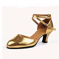 billige Moderne sko-Dame Latin Jazz Velourisert Lær Høye hæler Trening Nybegynner Utendørs Opptreden Spenne Kustomisert hæl Sølv Rød Gylden 5,5 cm Kan