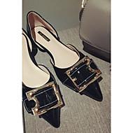 お買い得  レディースフラットシューズ-女性用 靴 PUレザー 夏 コンフォートシューズ フラット フラットヒール ポインテッドトゥ ブラック / レッド