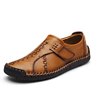 Men's Shoes Nappa Leather Fall Winter Comfort Loafers & Slip-Ons Split Joint For Casual Party & Evening Office & Career Black Brown Dark