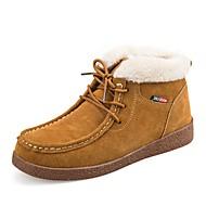 Dame Støvler Komfort Snøstøvler Trendy støvler Ankelstøvel Semsket lær Vinter Avslappet Formell Fest/aften Snøring Flat hælSvart Gul