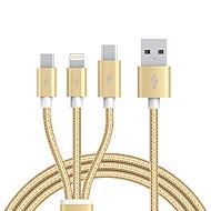 USB 2.0 Kabel, USB 2.0 to USB 2.0 Type C Micro USB 2.0 Lightning Kabel Mannelijk - Mannelijk 1.2m (4ft)