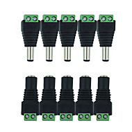 HKV® 10Pcs 5 Female 5 Male DC Connector 2.1*5.5mm Power Jack Adapter Plug Cable Connector For Single Color Led Tape