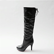 Women's Shoes PU Spring Fall Comfort Boots Stiletto Heel Round Toe For Casual White Black