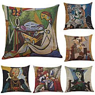 Set of 6 European Classical Picasso Oil Painting Linen Cushion Cover Home Office Sofa Square Pillow Case Decorative Cushion Covers Pillowcases (18*18)